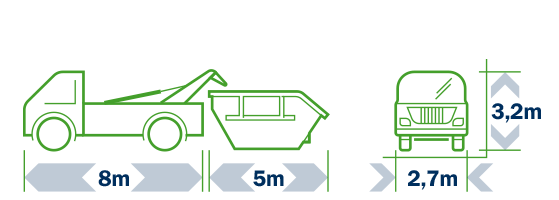 Samochód podstawiający kontener na odpady budowlane i wielkogabarytowe